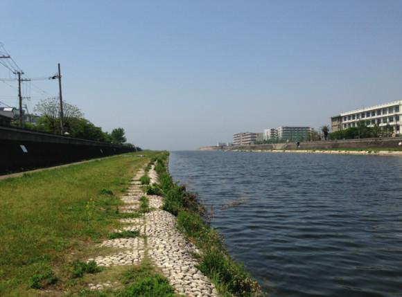 明石川下流から瀬戸内海方面を眺める